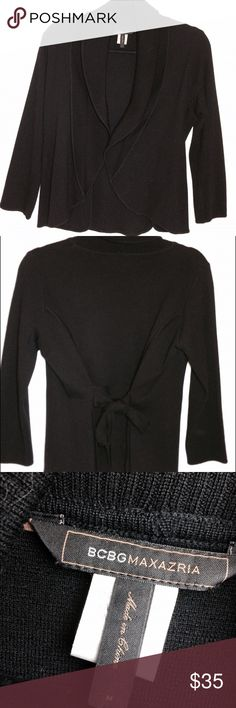 BCBG Wrap Sweater Cardigan  BLACK The perfect staple item! Perfect condition. No flaws. Worn one time. Extra fine merino wool. Not scratchy at all. Size medium. No trades. BCBG Sweaters Cardigans
