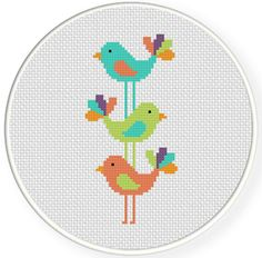 Bird Stack PDF Cross Stitch Pattern by DailyCrossStitch on Etsy