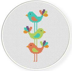 Bird Stack PDF Cross Stitch Pattern by DailyCrossStitch on Etsy