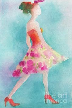 Woman in a Pink Flowered Skirt Fashion Illustration Art Print - Beverly Brown Prints