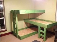 Nice bunk bed idea for space saving, if you have a few little ones.
