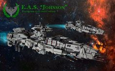 """https://flic.kr/p/zkpgo2   Earth Alliance Ship - Johnson   EAS Johnson - battlecruiser class Peacemaker. The main ship of First strike fleet. These ships gained notoriety during Tessalian Civil War. They fulfilled main function - the salvation of millions of refugees, and EAS Johnson was the flagship of the fleet. At the end of the war """"Peacemakers"""" on a par with the """"Thessaly Titans"""" became a symbol of saving the planet.  SHIPtember info:  Lenght: 127 Studs"""