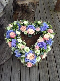 Beautiful vintage rose and hydrangea heart funeral flower tribute, bespoke funeral flowers. www.thefloralartstudio.co.uk