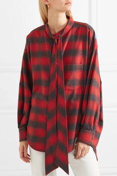 Balenciaga | Swing oversized printed checked cotton-flannel shirt | NET-A-PORTER.COM