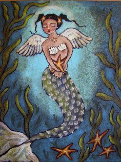 """Goodnight Sweet Stars"" original folk art mermaid angel by CampbellJane"