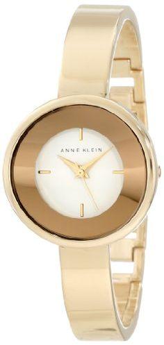 Anne Klein Women's AK/1082WTGB Gold Tone Curved Bangle Watch - AK/1082WTGB, Anne, Bangle, Curved, Gold, Klein, tone, Watch, Women's - http://designerjewelrygalleria.com/anne-klein-jewelry/anne-klein-womens-ak1082wtgb-gold-tone-curved-bangle-watch/
