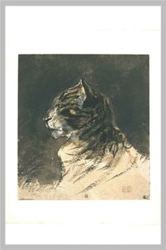 Cat head - Eugene Delacroix 1798-1863  was a French Romantic artist regarded from the outset of his career as the leader of the French Romantic school.