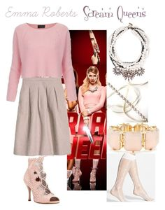 """Emma Roberts Scream Queens"" by luv2dressup on Polyvore featuring R.J. Graziano, GetTheLook, emmaroberts, celebstyle, CelebrityStyle and ScreamQueens"