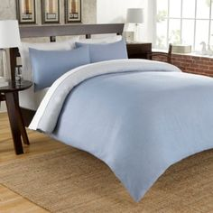 Cotton Chambray Reversible Duvet Cover Set in Blue - BedBathandBeyond.com