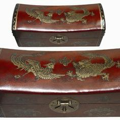 """Leather Topped """"Pillow Box"""" with Asian Dragon and Phoenix Artwork - Elegant and Functional Historical Recreation - An Exceptional and Unique Gift by Terrific Finds. $58.21. Measures 11 Inches by 4 Inches by 4.75 Inches. Gold Leaf Used on Leather Top Art. Hand Crafted by Artisans in a Chinese Village. Decorated With Asian Dragon and Phoenix Design. Beautiful as Décor and Also a Functional Storage Box. The traditional Chinese pillow box is a well-known object. With its s..."""