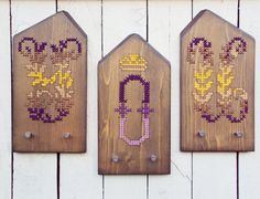 YOU Letters Personalized Wall Racks Initial Monogram Letter Cross Stitch Decor. €145.00, via Etsy.