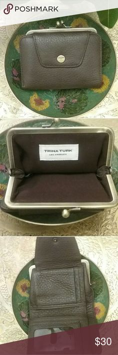 Trina Turk chocolate brown leather wallet Trina Turk Los Angeles chocolate brown pebble leather small wallet with brass hardware. This is in new condition, never been used. All offers gladly considered ☺ Trina Turk Bags Wallets