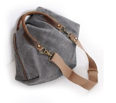 Image of Gray Portable bag Retro Messager Canvas Big Bag Single Shoulder For Women Bag 9861