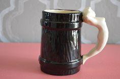 Vintage (?) Black Ceramic Mug w/ White Nude Lady Handle Marked BB Holidays Gift