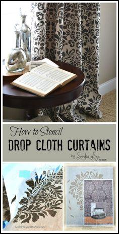 How to Stencil Drop Cloth Curtains --  Sondra Lyn at Home