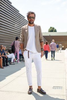 For an everyday outfit that is full of character and personality marry a beige linen sportcoat with white linen suit pants. A pair of dark brown leather tassel loafers will bring a strong and masculine feel to any ensemble.   Shop this look on Lookastic: https://lookastic.com/men/looks/blazer-crew-neck-t-shirt-dress-pants-tassel-loafers-sunglasses-watch-bracelet/12667   — Dark Brown Sunglasses  — White Crew-neck T-shirt  — Beige Linen Blazer  — Silver Watch  — White Linen Dress Pants  —…