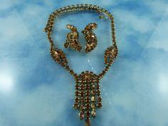50% OFF OUR ENTIRE SHOP: Signed Kramer Amber Crystal Necklace Set