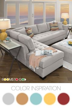 Get some living room color palette inspiration from our Calvin Heights sectional set. The bold platinum of the sectional lends fantastic eye appeal while the free-flowing wave pattern on the pillows and chair are bold and add character. This living room s Living Room Styles, Living Room Designs, Living Room Furniture, Living Room Decor, Sofa Design, Interior Design, Fashion Room, Room Colors, Paint Colors