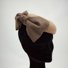 Bonnie Pill Box Hat - Camel wool with an oversized soft tweed bow.