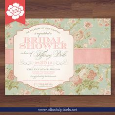 Bridal Shower Invitation  Vintage Floral & by BlissfulPixels
