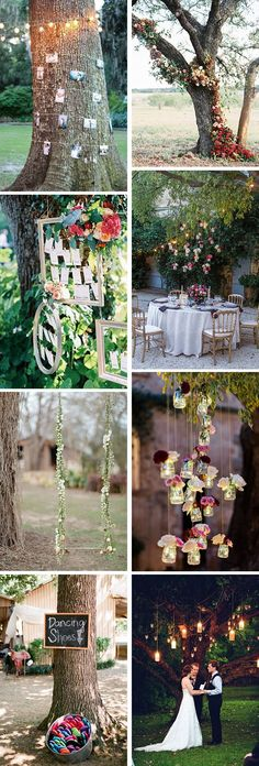 """If you're getting married outside, chances are you'll be surrounded by trees in some capacity, and perhaps evening saying """"I do"""" under one! So we found a few creative ways to dress up the trees around"""