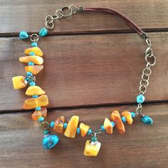 Amber and Turquoise Earth Chain Necklace - Lake – Ping Amber