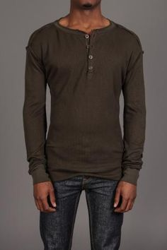 Second Sunday Thermal Henley Olive - plain henley that fits well with the right shoes and a cool watch or belt. done dilly. i think this color or a brown would look good on you