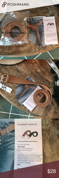 NWT MIA BELT This is a tan with a gold buckle. It is made out of synthetic leather. Looks great long or you can cut it to the size you like.you can see the long way in the picture. It is 52in long. Mia Belt Accessories Belts