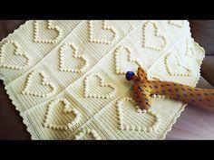 Part #1 Heart Baby Blanket Crochet, Bobble Stitch, Herz Babydecke Häkeln - YouTube Bobble Crochet, Crochet Baby Cardigan, Manta Crochet, Bobble Stitch, Crochet Squares, Crochet Blanket Patterns, Baby Blanket Crochet, Knitting Patterns Free, Crochet Gifts