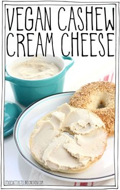 Vegan Cashew Cream Cheese - 3 ways! 6 ingredient, easy to make, cream cheese plus optional additions so you can make a fruit cream cheese, such as strawberry or pineapple, or a garlic & herb cream cheese. Perfect creamy, slightly tangy, spreadable, vegan cream cheese. Dairy-free. #itdoesnttastelikechicken #veganrecipes #vegancheese #dairyfree via @bonappetegan