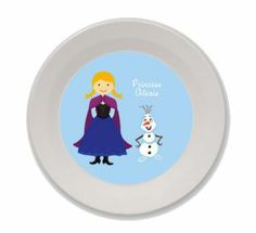 Personalized Snow Princess and Snowman Bowl