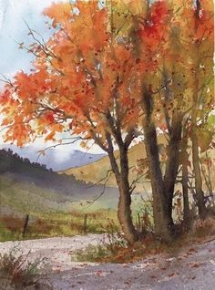 Painting watercolor trees autumn leaves New ideas Watercolor Pictures, Watercolor Trees, Watercolor Landscape, Landscape Art, Landscape Paintings, Watercolor Paintings, Watercolors, Paintings Of Trees, Painting Trees