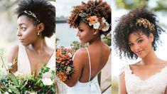 Penteados e Vestidos para Noivas Crespas - Garota Crespa Flower Crown Hairstyle, Crown Hairstyles, Afro Hairstyles, Wedding Pins, Wedding Updo, Natural Curls, Natural Hair Styles, Under The Veil, Natural Wedding Hairstyles