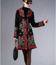 Womens Fashion Black Collar Wool Jacket Embroidered Peony Slim Long Windbreaker #other #BasicCoat