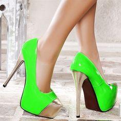 green high heels fashion shoes
