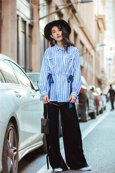 3c0afcd13d4bce Cheerart Spring Women Blue White Striped Long Lantern Sleeve Blouse Shirt  Lace Up Casual Tunic Top