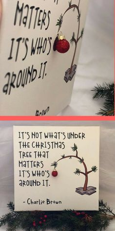 I love this quote from a charlie brown christmas canvas - cu Christmas Signs, Winter Christmas, Christmas Holidays, Christmas Ornaments, Christmas Shopping, Christmas Tree Canvas, Best Christmas Cards, Christmas Tree Quotes, Merry Christmas