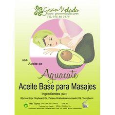 Aceite masaje Aguacate, disfruta de este aceite para masajes de Aguacate, nutritivo y regenerador, especial para pieles envejecidas, secas o agrietadas..