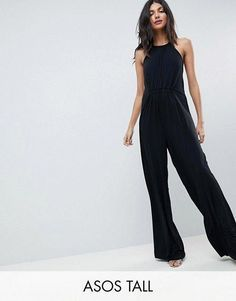 27e6998d5f7 ASOS Tall ASOS TALL Slinky Jumpsuit with Gathered Waist. Simple black  jumpsuit for casual outings or styled for an event.