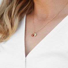 A little accessory can go a lot way. Add initials + birthstones to our Hand Stamped Initial Birthstone Necklace. ❤️ #necklace #jewelry