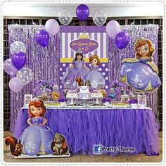 Candy buffet or dessert table are very popular for birthday parties, engagement, wedding, baby shower / mom-to-be and aqiqah event. Sofia Birthday Cake, Princess Birthday Party Decorations, Sofia The First Birthday Party, Disney Princess Birthday Party, 2nd Birthday Party Themes, 1st Birthday Girls, Princess Cake Toppers, Barbie, Candy Buffet