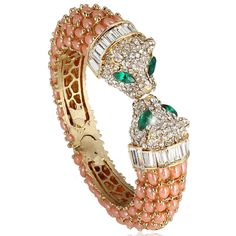 Fashion Dual Panther Leopard Head Bangle Bracelet Pink Austrian Crystal Gold GP