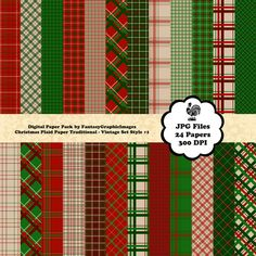 Christmas Plaid Digital Paper Pack  by FantasyGraphicImages