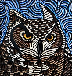 Great Horned Owl, painted woodcut block  by Lisa Brawn