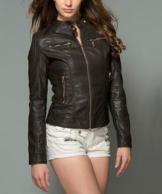 Love this Coffee Faux-Leather Pocket Moto Jacket by Kokette on #zulily! #zulilyfinds