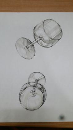와인잔 3d Drawings, Pencil Drawings, Sketch Design, Design Art, Perspective Images, Still Life Drawing, Object Drawing, Copic Sketch, Hyperrealism