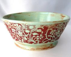 Green Vines Bowl  Hand Thrown Stoneware by JustMare on Etsy