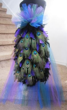 Express Delivery Peacock Feather Bustle Tail by threadedcreations, $95.00