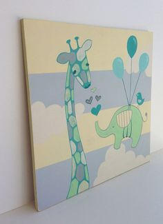 Hand Painted Whimsical Giraffe Nursery Art On Wood Bird Wall Kids Sign Heart Decor Sam S Room