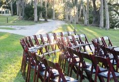 We offer many different chair options for your ceremony. These mahogany chairs go perfectly with the Phillippi Estate!